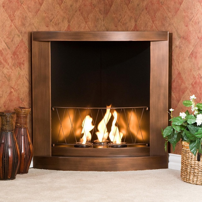 Copper Gel Corner Fireplace Free Shipping Today