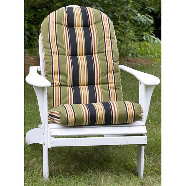 Shop Adirondack Black Stripe Outdoor Chair Cushion Free Shipping