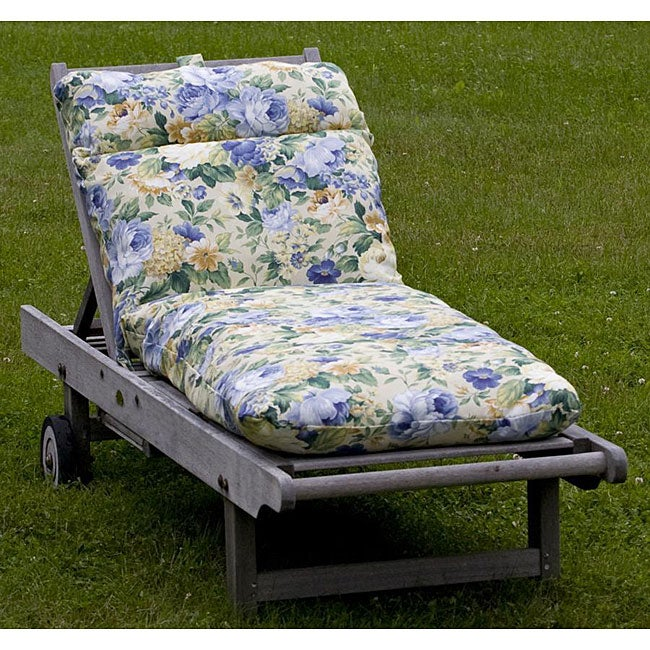 Outdoor blue floral chaise lounge cushion free shipping for Blue outdoor chaise lounge