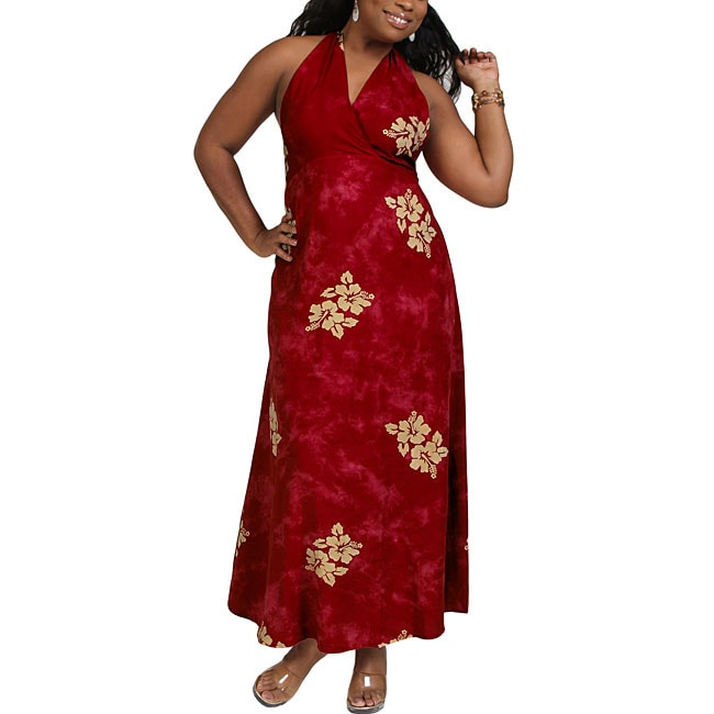 Long Hibiscus Burgundy Halter-style Dress (Indonesia)