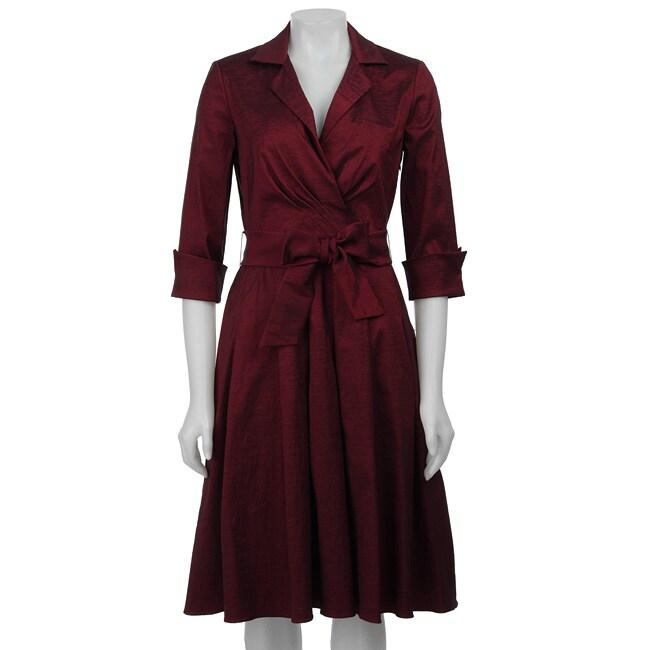 Jessica Howard Women's Cuff-sleeve Notch Collar Belted Shirtdress