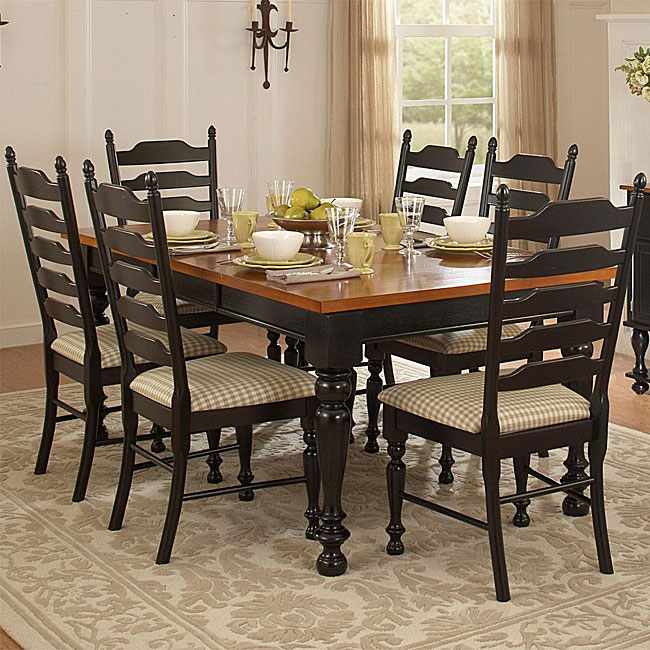 Country Charm Two tone 7 piece Dining Table Set Free