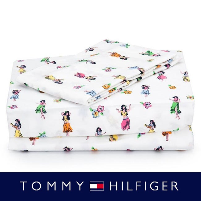 Tommy Hilfiger 200 Thread Count 'Hula Girl' 4-piece Printed Sheet Set