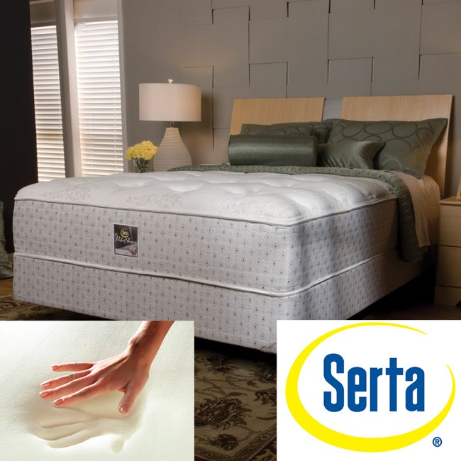 serta delphina plush queen size mattress and box spring set free shipping today overstock. Black Bedroom Furniture Sets. Home Design Ideas