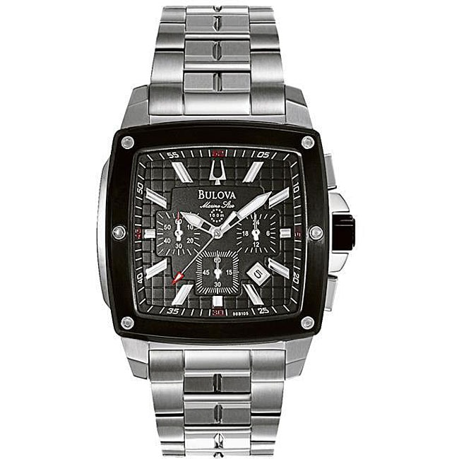 Bulova Men's Marine Star Black Square Watch