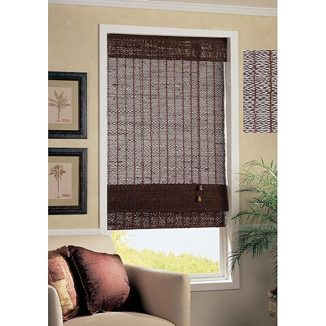 Mahogany Bamboo Hemp Corded Roman Shade 34 In X 72 In