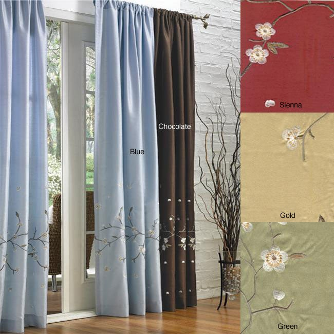 Cherry Blossom Pole Top 84-inch Curtain Panel Pair