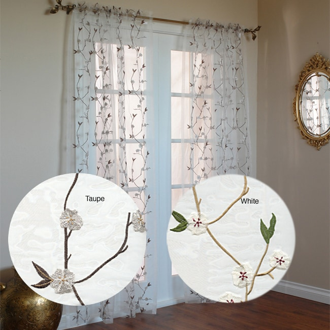 Cherry Blossom 84 Inch Sheer Curtain Panel Pair Free