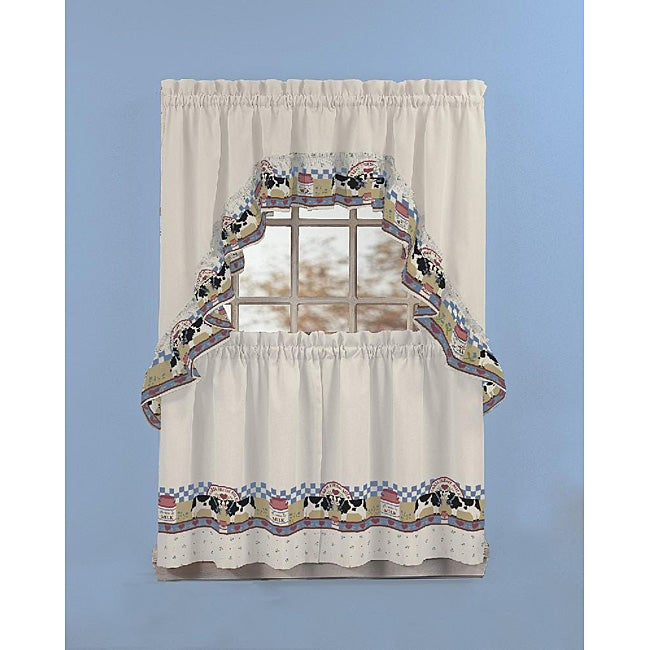 Fresh Milk 3 Piece Curtain Tier And Swag Set Free