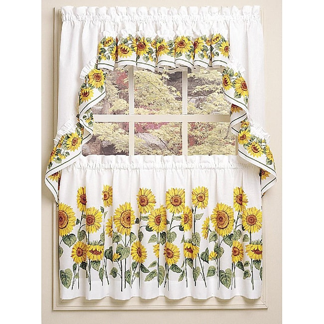 Sunflower 3-piece Curtain Tier And Swag Set