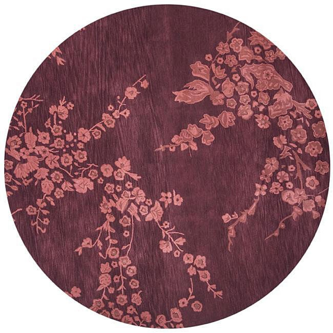 Hand-tufted Plum/ Apricot Wool/ Cotton Rug (8' Round)