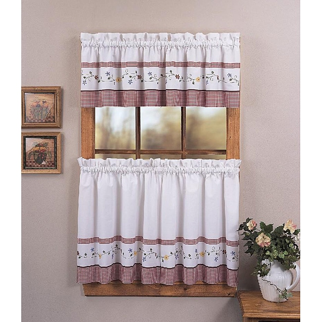 Shop Gingham Garden 3-piece Curtain Tier/ Valance Set
