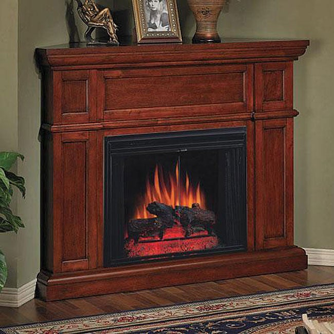 Artesian Premium Cherry Corner Mantel Electric Fireplace Package ...