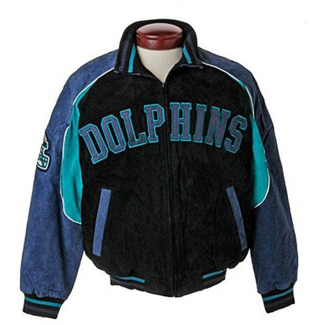 finest selection ff988 afa6d Shop NFL Miami Dolphins Full-zip Suede Varsity Jacket - Free ...