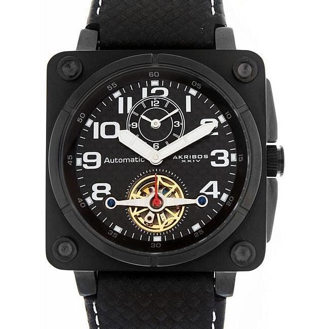 Shop Akribos XXIV Menu0027s U0027Monacou0027 Open Heart Automatic Dual Time Square  Watch   Free Shipping Today   Overstock.com   4239676