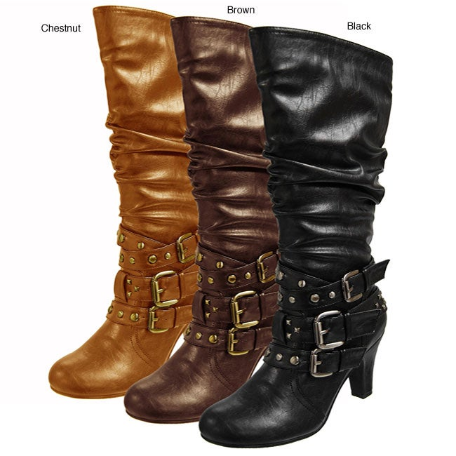 0da634c93a365 Shop Bamboo by Journee Collection Women's Slouchy Multi-buckle Boots - Free  Shipping Today - Overstock.com - 4239695