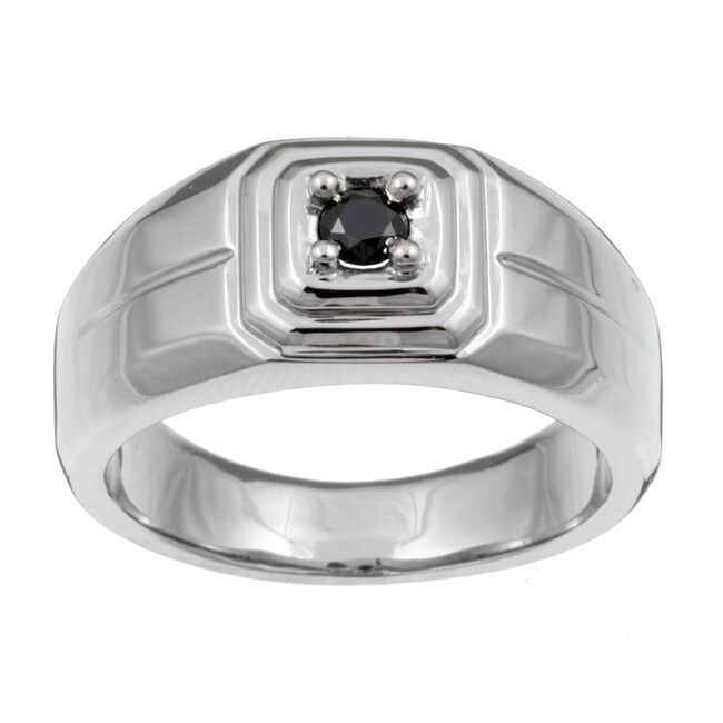 Unending Love Stainless Steel Men's 1/5ct TDW Black Diamond Ring - Thumbnail 0