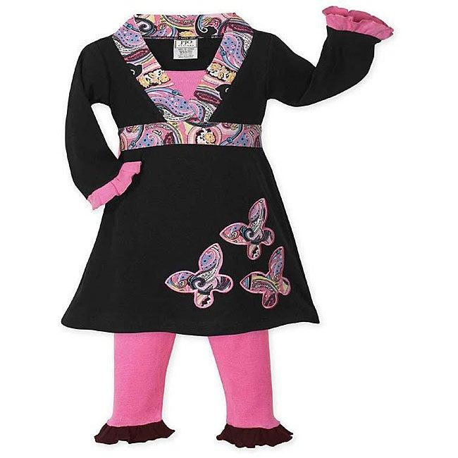 Sweet Jojo Designs Girls' Pink/ Black Butterfly Dress Set