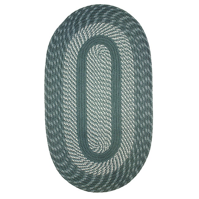 Middletown Blue Indoor/ Outdoor Braided Rug (2' x 6' Oval)
