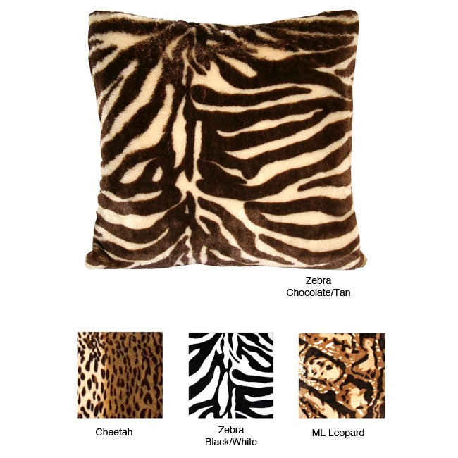 Animal Print Faux Fur Throw Pillows (Set of 2)