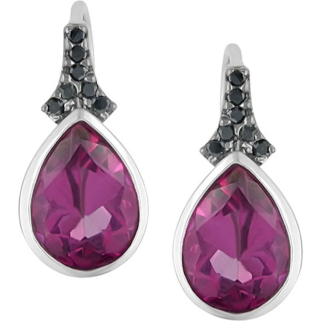 Sterling Silver Pink Topaz and Black Diamond Earrings