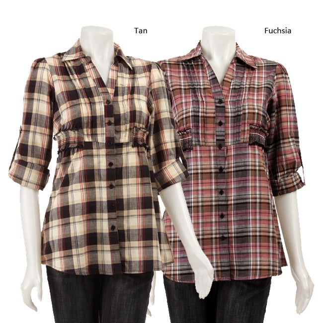 Sam & Max Women's Plaid Button-up Tunic