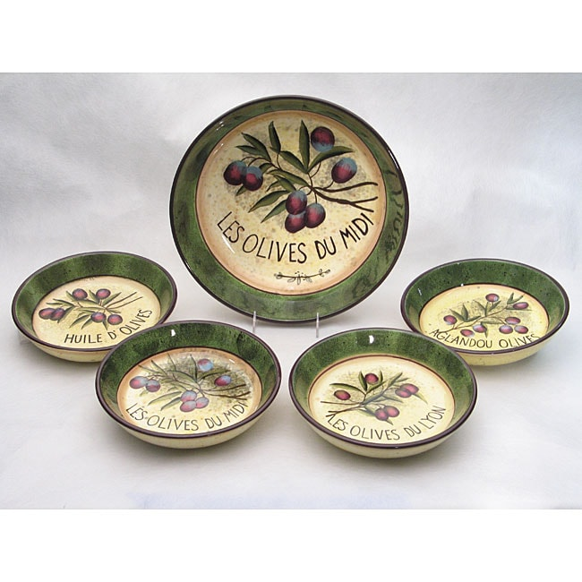 Certified International 'Garden of Olives' 5-piece Pasta Set