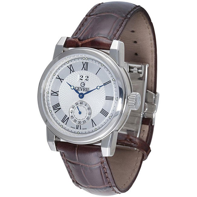 Gevril men 39 s broadway steel limited edition leather strap watch free shipping today for Gevril watches
