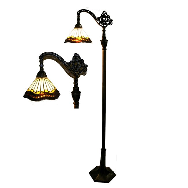 Tiffany style reading lamp free shipping today for Overstock tiffany floor lamp