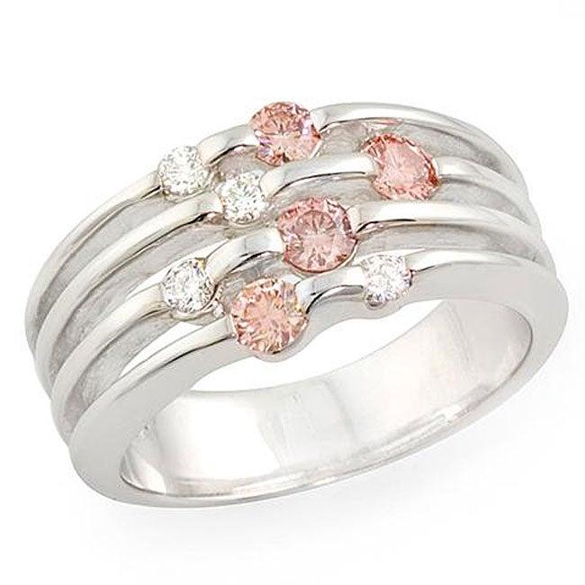 14k White Gold 1/2ct TDW Pink/ White Diamond Ring (H, SI) (Size 6.75)