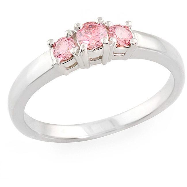 14k White Gold 1/3ct TDW Round-cut Pink Diamond Ring (SI1) (Size 6.5)