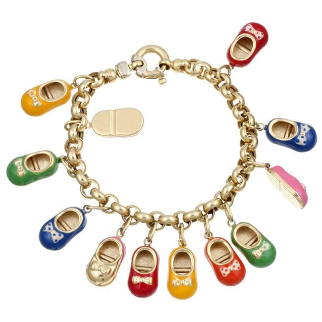 Shoe Charm Bracelet: Shop 18k Yellow Gold Enamel Baby Shoe Charm Estate
