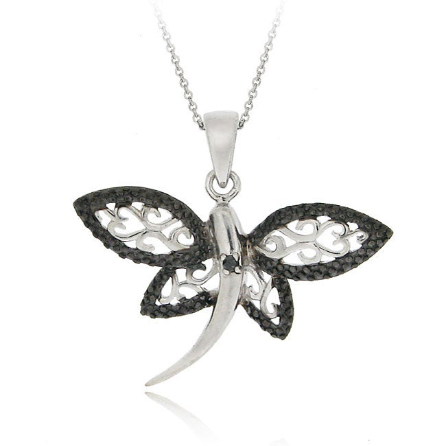 DB Designs Sterling Silver Black Diamond Accent Filigree Dragonfly Necklace