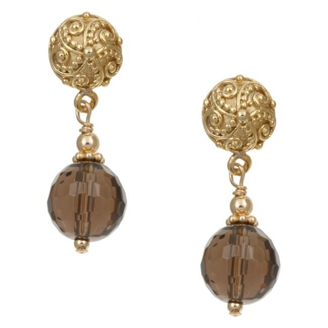 Lola's Jewelry 22k Gold Overlay Smokey Quartz Bali Earrings