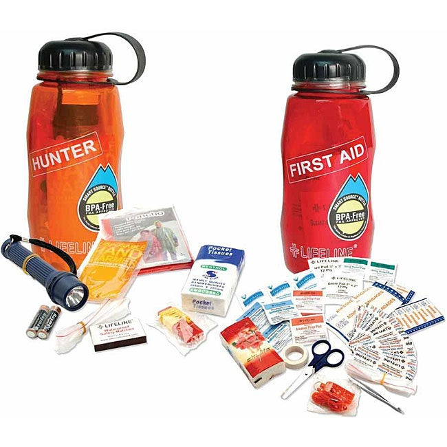 Lifeline Waterbottle 'First Aid in a Bottle' and 'Hunter in a Bottle' Kits