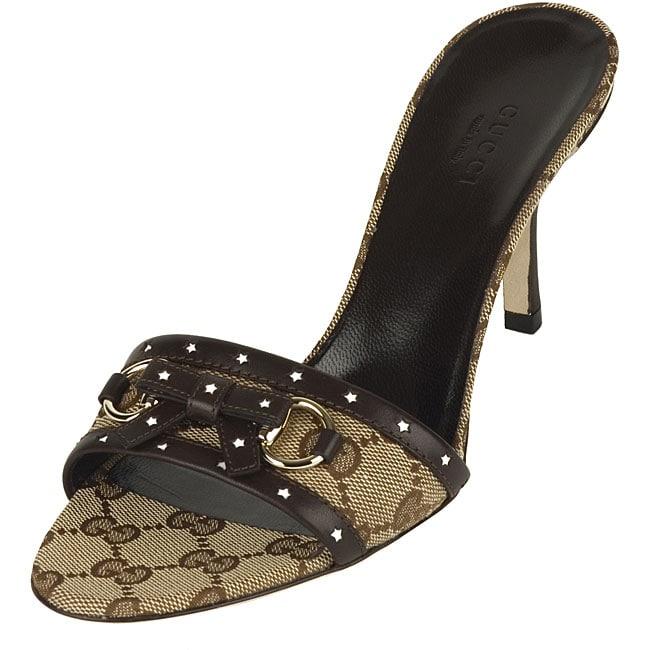 a9ac0c35bfed43 Shop Gucci Women s  Lifford  Beige  Dark Brown High-heel Sandals ...