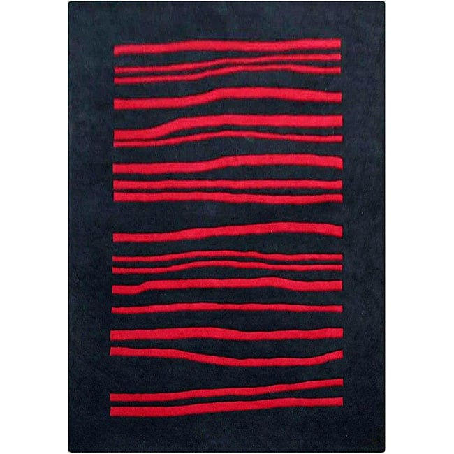 nuLOOM Hand-tufted Pino Collection Wavy Black Rug (7'6 x 9'6)
