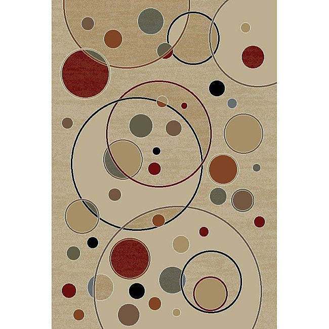 nuLOOM Trinity Collection Geometric Bubbles Ivory Rug (7'10 x 9'10)