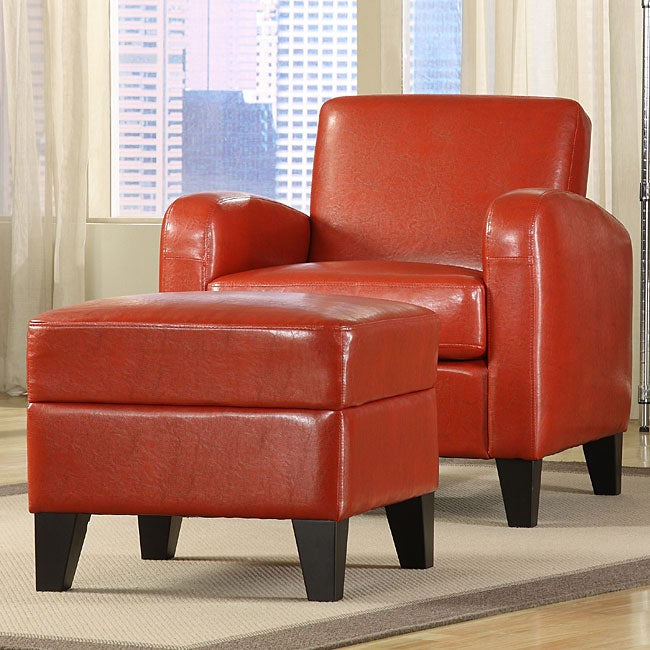 Shop Noah Faux Leather Red Club Chair And Ottoman Free Shipping