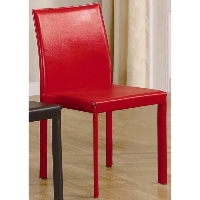 Euro Design Red Bicast Leather Dining Chairs (Set of 4)