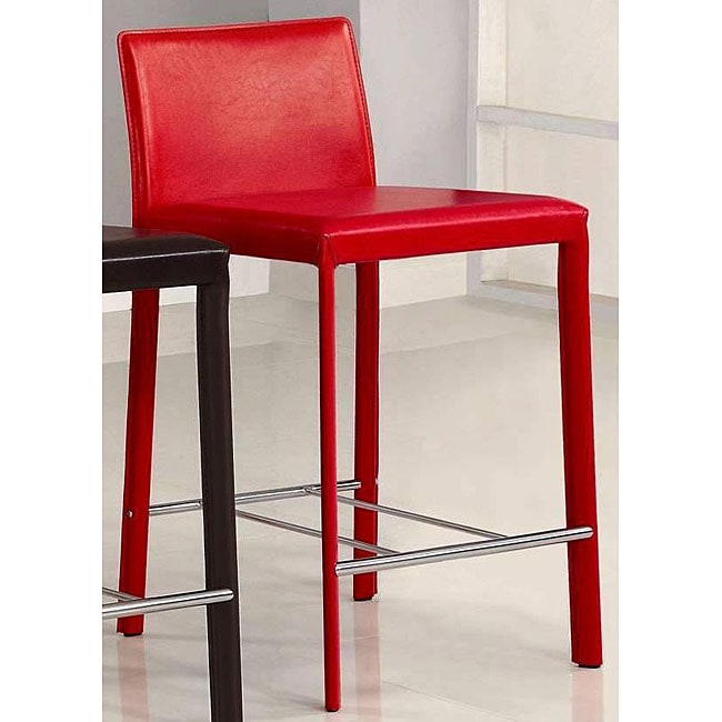 Euro Design Red Bicast Leather Counter Stools (Set of 2)