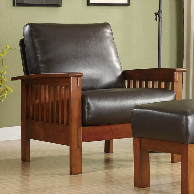 Hills Mission Style Bi Cast Leather Oak Chair Free