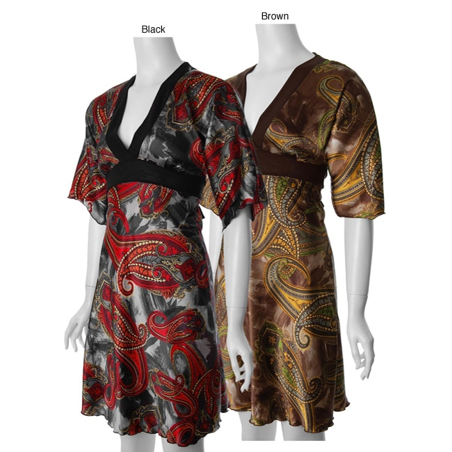 Yo! Yo 5 Brand Junior's Paisley Print V-neck Dress
