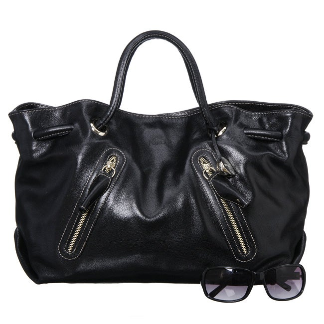 Furla Carmen Double Strap Extra Large Black Handbag Free Shipping Today 4270144