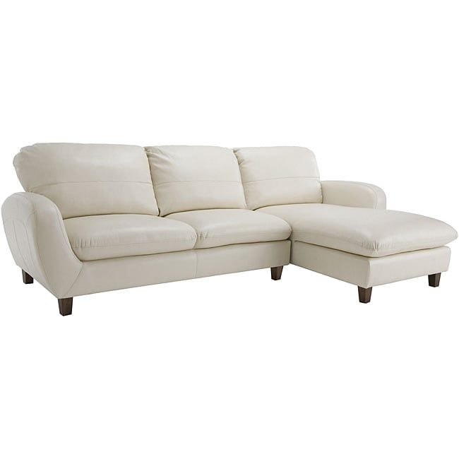 Hollywood White Leather Sectional Sofa