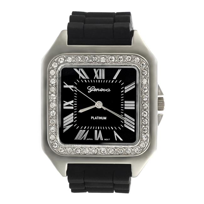 Geneva Women's Platinum Square Rubber Strap Watch