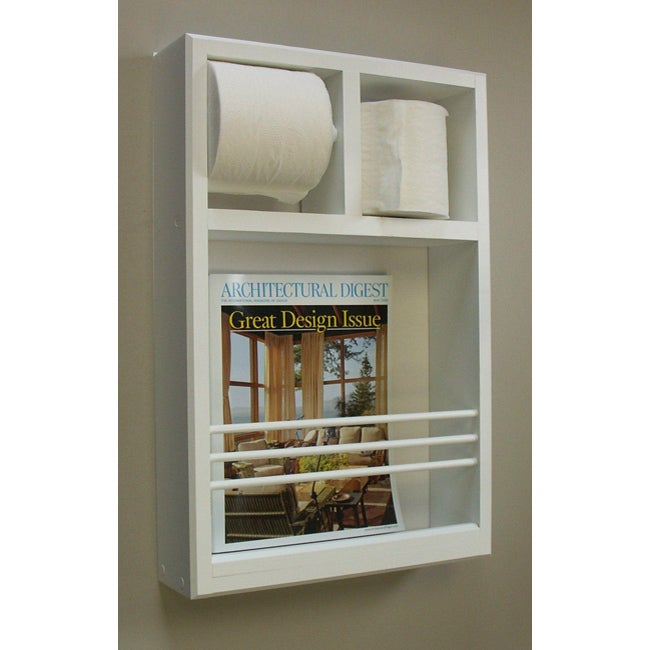 Wall Mount Magazine Rack With Toilet Paper Holder
