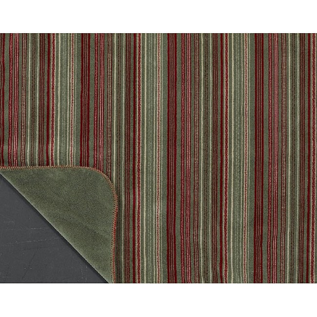 Red/ Sage Stripe Double-sided Throw Blanket
