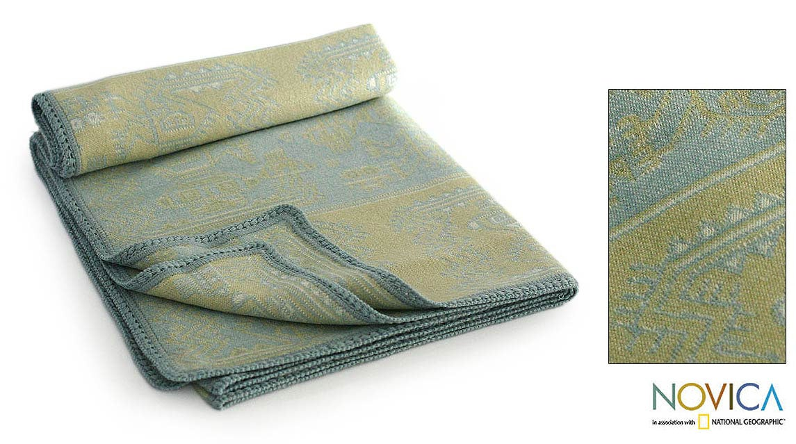 'Paracas Fantasy' Alpaca Wool Throw Blanket (Peru)