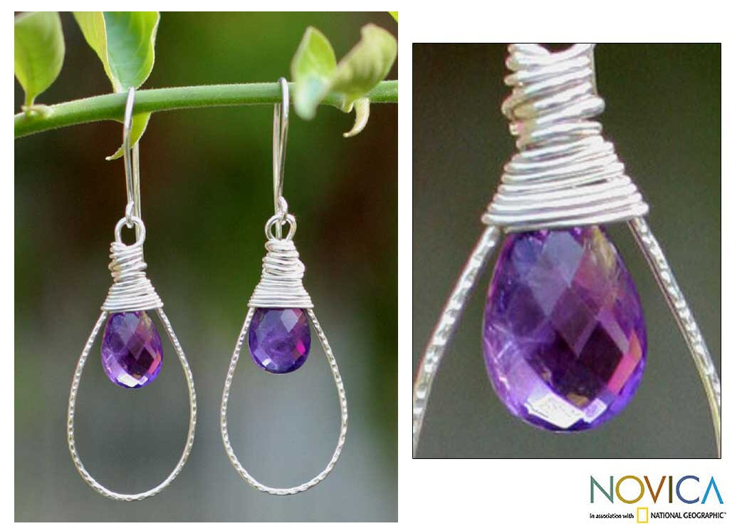 Sterling Silver 'Luminous' Amethyst Dangle Earrings (Thailand)
